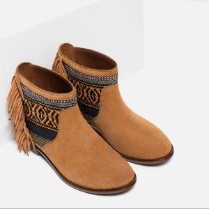 ZARA Trafaluc Bohemian Fringes Tribal Ankle Boots